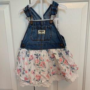 Oshkosh B'gosh Denim overall floral dress 12-18 mo